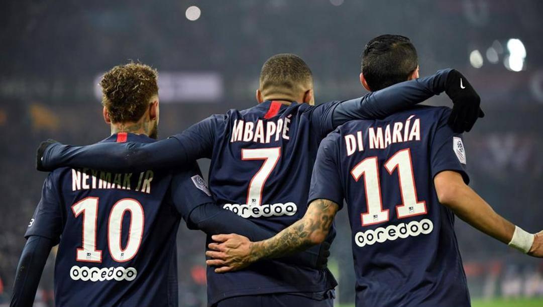 Neymar, Mbappé e Di Maria del Psg. Afp